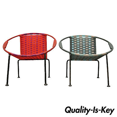 Pair of Childs MCM Hoop Saucer Woven Chairs in Red & Blue After Salterini
