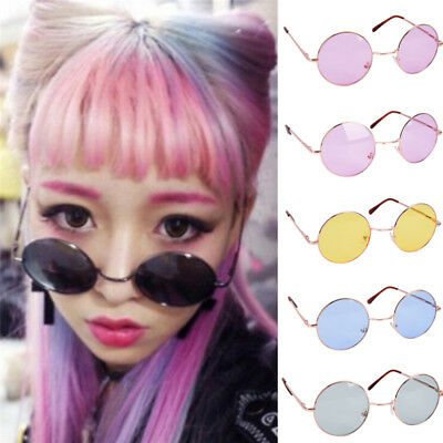 Large Oversized Big Round Metal Frame Color Lens Round Circle Eye Glasses LWYLY