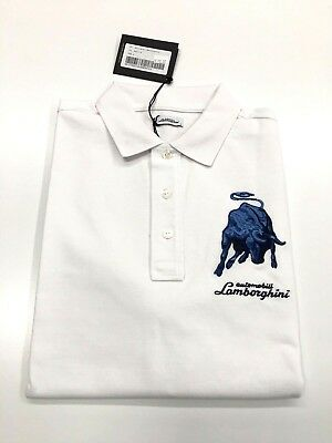 Men's SS Bull 1963 Polo shirt Bianco Isi (white & blue) Automobili Lamborghini