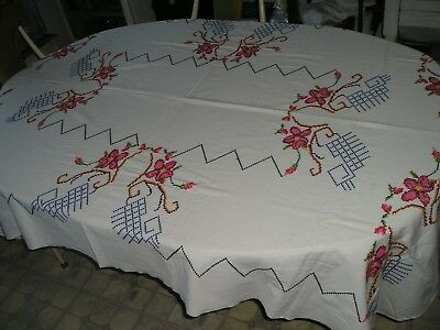 Vintage Embroidered Cross Stitch Table Cloth Rectangle 84x51 Very Pretty Nice