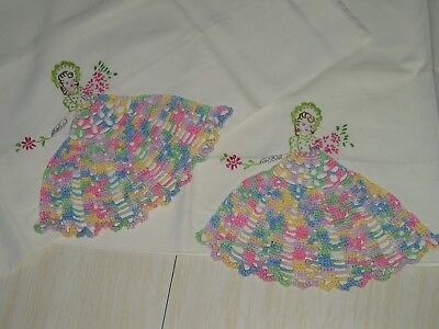 Vintage Unused Pillowcases Victorian Lady W.Dress Crochet Embroidery Handmade
