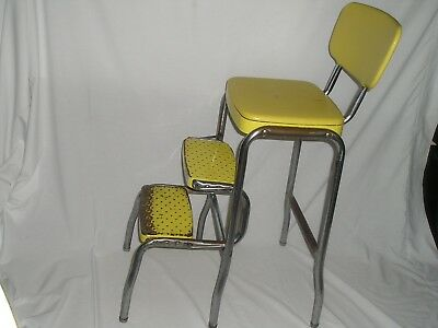 Vtg Step Stool Chair Kitchen All Metal Mid Century Shabby Rustic Farm House