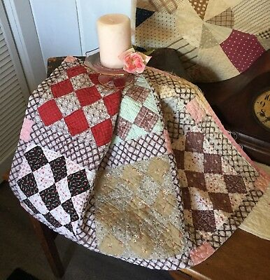 Antique Vintage Old 1800's Early Prints Nine Patch Checkerboard Quilt Piece #6