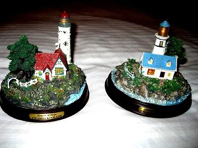 2 Light Up Thomas Kinkade Lighthouses - A Light in the Storm & Beacon of Hope