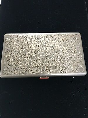 Silver 900 Cigarette Box With Coral Button