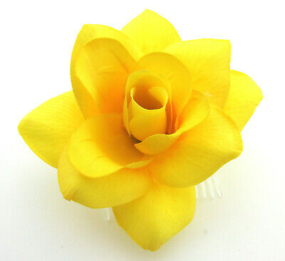 """4.5"""" Yellow Rose Poly Silk Flower Hair Comb,Bridal,Rockabilly,Pin Up,Updo"""
