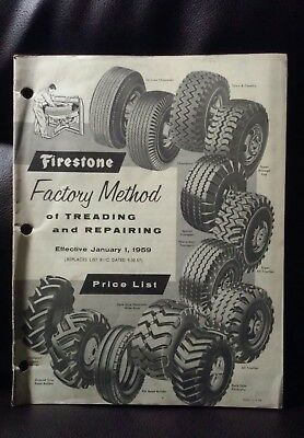Vintage 1959 Firestone Tire Factory Made and Repairing Price List Catalog