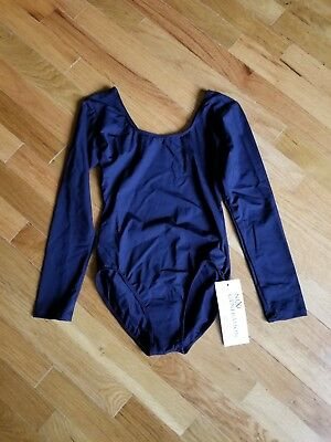 Black Long sleeve Leotard spandex adult small new with tag AS
