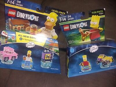 * NEW * LEGO DIMENSIONS THE SIMPSONS  BART FUN HOMER CAR LEVEL 2 PACK lot