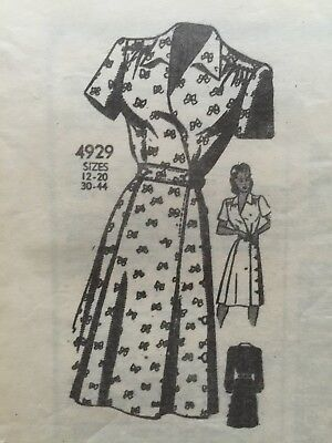 Vintage 1930/1940s Mail Order ANNE ADAMS 4929 Dress Sewing PATTERN Size 12