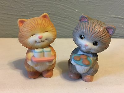 Avon Porcelain Mini Figurines Grey and Brown cats Collectible 1992