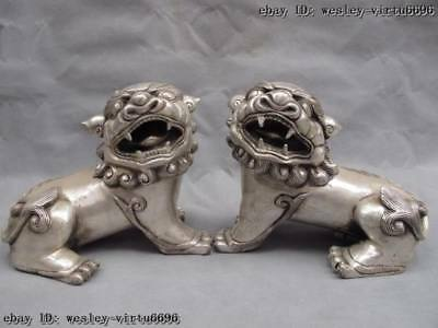 Chinese white Copper silver Feng Shui Evil Guardian Fu foo dog Lion Statue Pair