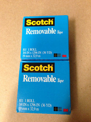 NEW 2 Rolls Scotch Magic REMOVABLE Tape 810   3/4 inch x 1000 inch