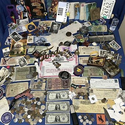 Junk Drawer Lot US & Foreign Coins Currency Ephemera Knives Tokens & Much More