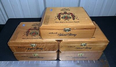 A. Fuente Short Story Empty Wooden Cigar Boxes! LOT OF 5!