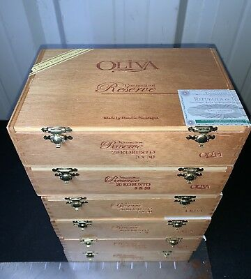 Oliva Connecticut Reserve Robusto Empty Wooden Cigar Boxes! Lot of 6!