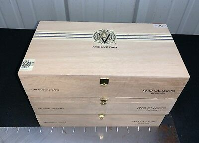 AVO Uvezian Classic Robusto Empty Wooden Cigar Boxes! LOT OF 3!
