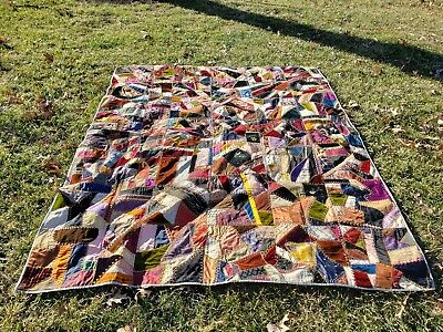 Antique Crazy Quilt Dated and Made By Cora Oct 20, 1897