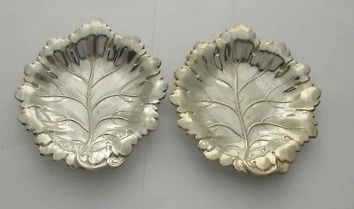 Pair of English Sterling Silver Leaf Candy Dishes