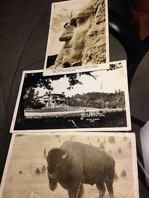 Three RPPC  Postcards From Family Scrapbook All Postmarked 1936 Used Mt.Rushmore
