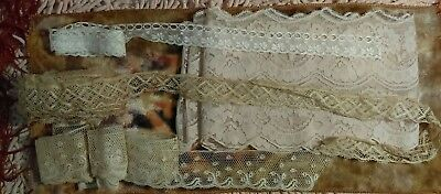 Lot Of 4 Different Antique Vintage Victorian Lace Trim 16 Yards Total