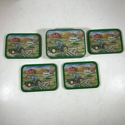 Collectible JOHN DEERE Tractor Tin with 4 Matching Cork Bottom Coasters