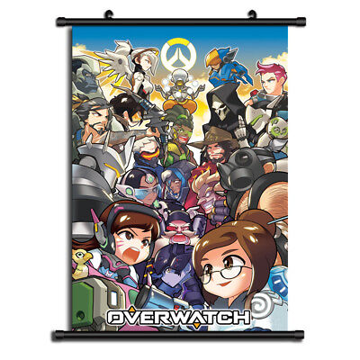 Overwatch D.VA Mercy Anime HD Canvas Print Wall Poster Scroll Home Decor Cosplay