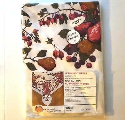 "Vintage Fallani Cohn 84x60"" Apples Pears Fruit Print Tablecloth New in Package"