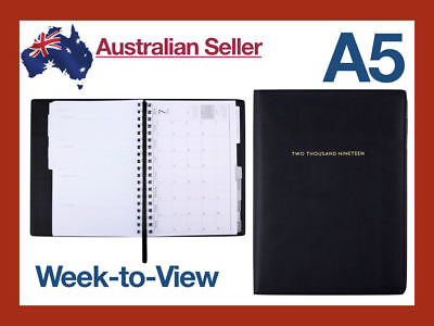 2019 A5 Weekly Diary Compendium Organiser Planner Journal Portfolio PU Leather