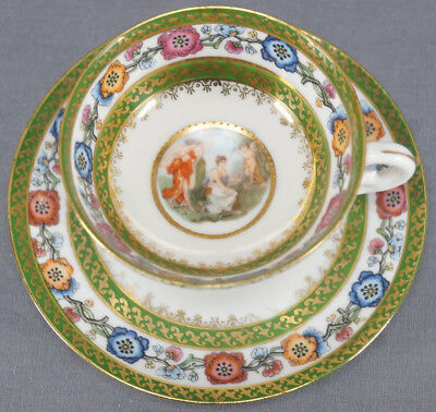 ES Prussia Royal Vienna Style Classical Scene Cabinet Cup & Saucer 1891 - 1900 D
