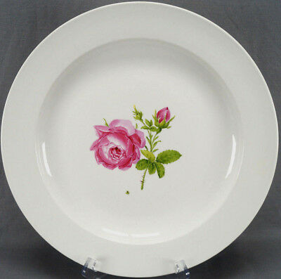 Meissen Hand Painted Pink Rose Porcelain 13 3/4 Inch Charger Circa 1817 - 1824