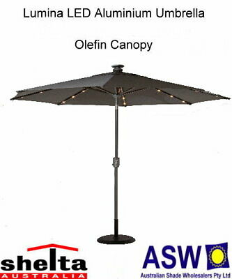 Shelta Lumina LED 270cm Octagonal Aluminium Centre Pole Umbrella-Various Colours