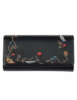 New Serenade Heidi Black Red Blue Multi Large Rfid Genuine Leather Wallet