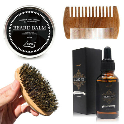 Beard Grooming & Trimming Kit Beard Oil+Beard Balm+Comb+Brush+Beard Care Set New