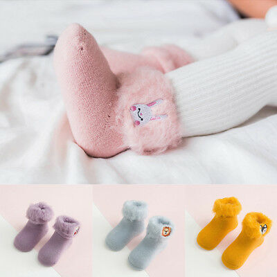 Baby Toddlers Kids Thick Socks Warm Cuff Cotton Hosiery Ankle Sock Anti-Slip