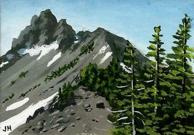 "aceo original acrylic painting ""Climb to the Summit""  by J. Hutson"