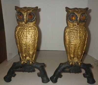 Matching Pair Set of Cast Iron Owl Fireplace Andirons Amber Glass Eyes