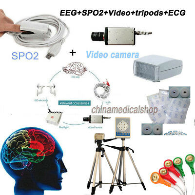 EKG/EEG Holter Monitor 24 hours For Mapping Brain system 18 Channels SPO2 +Video