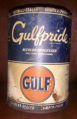 Auth & Original Empty Qt GULFPRIDE Alchlor-Processed Open Top Can Old Gulf Logo