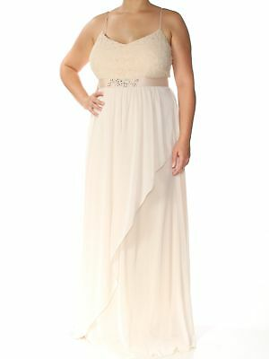 ADRIANNA PAPELL Womens New 1418 Beige Lace Full-Length Formal Dress 16 B+B