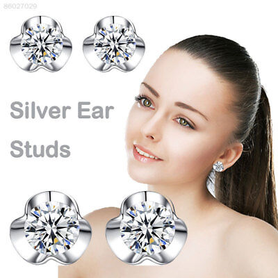 C855 925 Silver Ear Studs Tremella Gifts Jewelry Women Retro Anti Allergy