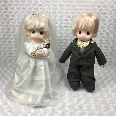 Precious Moments Jonny and Jessi Bride Groom Wedding Collectible Dolls w Stands