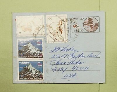 DR WHO 1984 NEPAL PAIR UPRATED AEROGRAMME TO USA  d78926