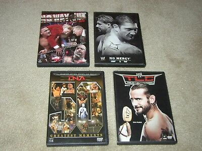 Lot of 4 WWE Wrestling DVDs No Mercy, No Way Out 2012, TNA 50 Greatest Moments +