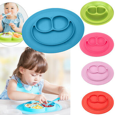 New Silicone Mat Cute Baby Kids Suction Table Food Tray Placemat Plate Bowl