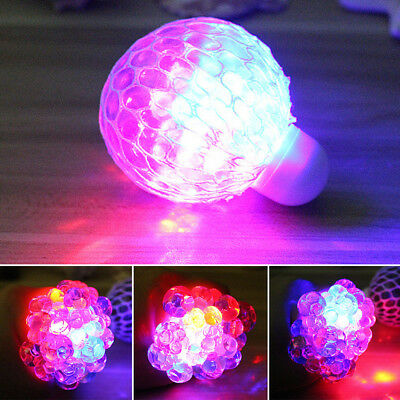 1X Glowing Squishy Ball Grape Novelty Squeeze Toy Reduce Stress Kid Gifts