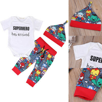 Newborn Infant Baby Boy Superhero Outfit Jumpsuit Bodysuit Clothes Pant Hat 3Pcs