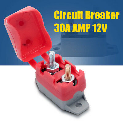 30A AMP 12V Circuit Breaker & Cover Dual Battery Fuse Automatic Auto Reset C0089