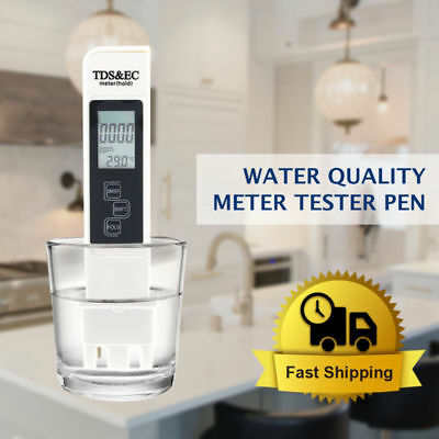 3 In 1 TDS EC PPM Multifunctional Water Quality Meter Tester Pen LCD Display