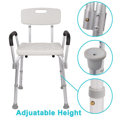 New Aluminum Adjustable Height Medical Aid Armrest Shower Stool Seat Bath Chair